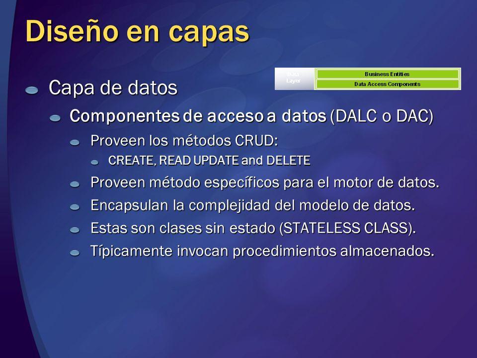 Diseño en capas Capa de datos Componentes de acceso a datos (DALC o DAC) Proveen los métodos CRUD: CREATE, READ UPDATE and DELETE Proveen método espec