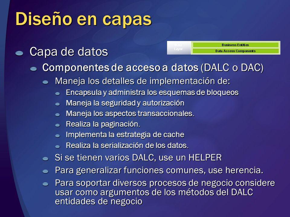 Diseño en capas Capa de datos Componentes de acceso a datos (DALC o DAC) Maneja los detalles de implementación de: Encapsula y administra los esquemas