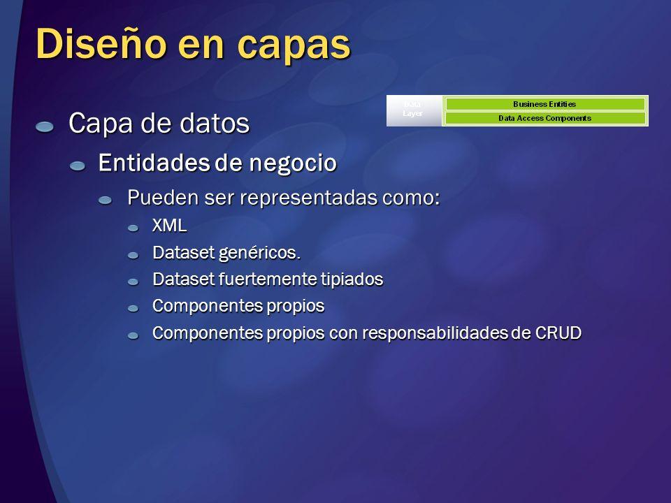 Diseño en capas Capa de datos Entidades de negocio Pueden ser representadas como: XML Dataset genéricos. Dataset fuertemente tipiados Componentes prop