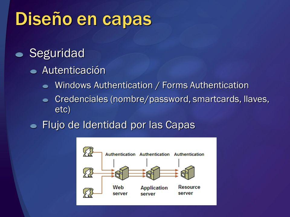 Diseño en capas SeguridadAutenticación Windows Authentication / Forms Authentication Credenciales (nombre/password, smartcards, llaves, etc) Flujo de
