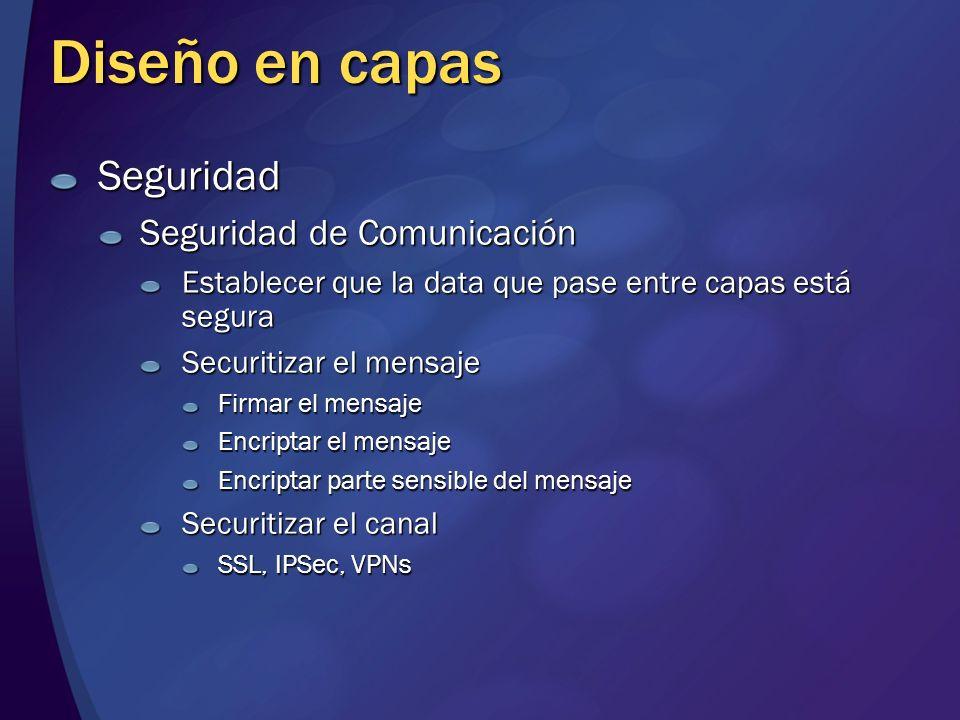 Diseño en capas Seguridad Seguridad de Comunicación Establecer que la data que pase entre capas está segura Securitizar el mensaje Firmar el mensaje E