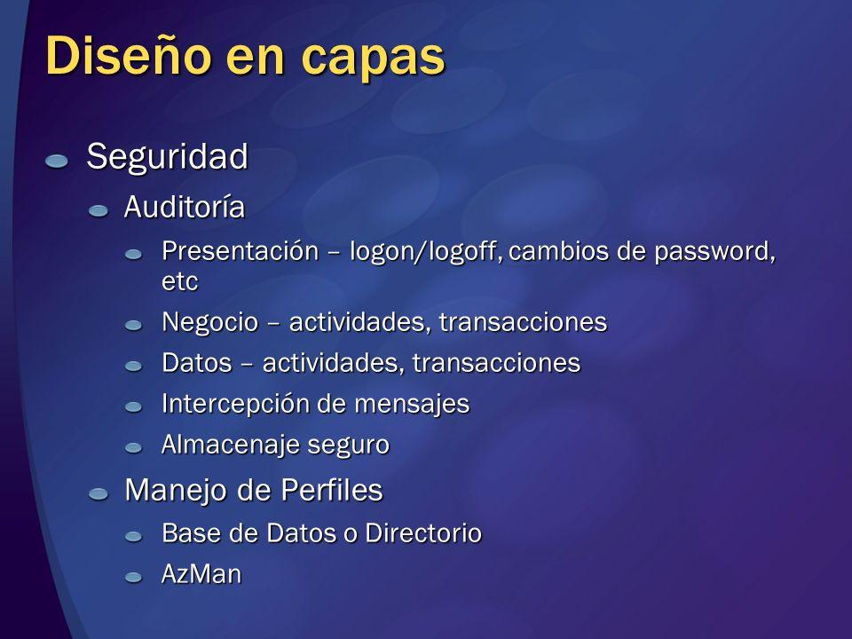 Diseño en capas SeguridadAuditoría Presentación – logon/logoff, cambios de password, etc Negocio – actividades, transacciones Datos – actividades, tra