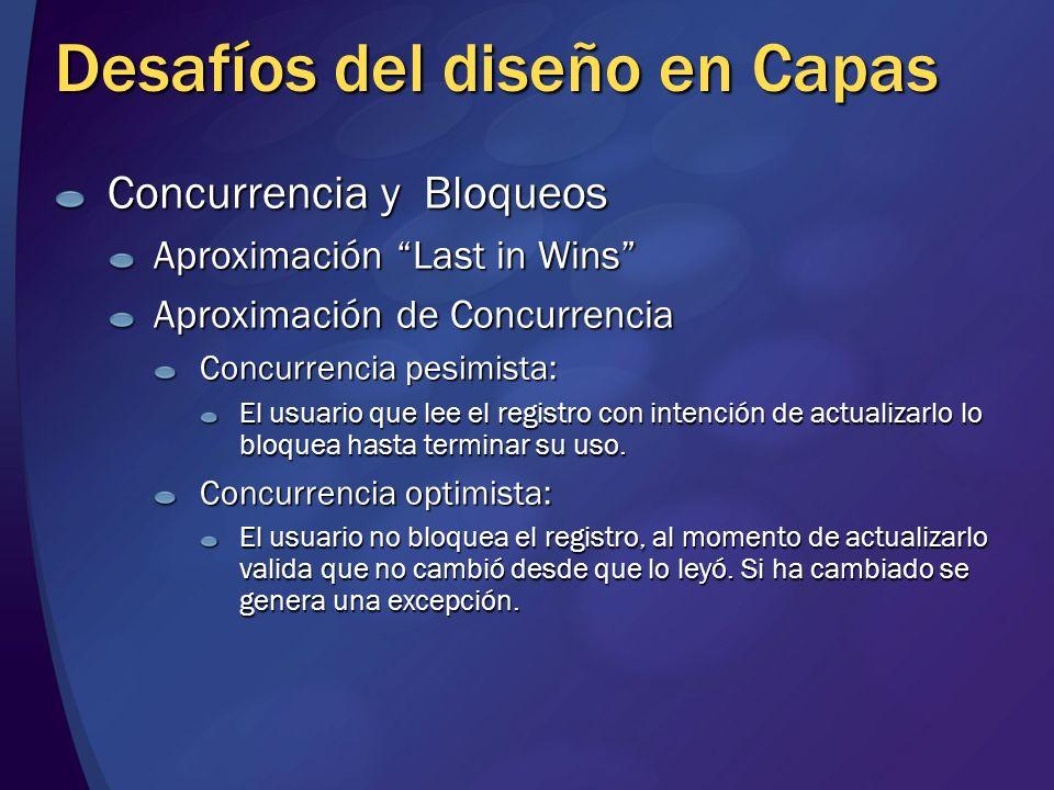 Desafíos del diseño en Capas Concurrencia y Bloqueos Aproximación Last in Wins Aproximación de Concurrencia Concurrencia pesimista: El usuario que lee