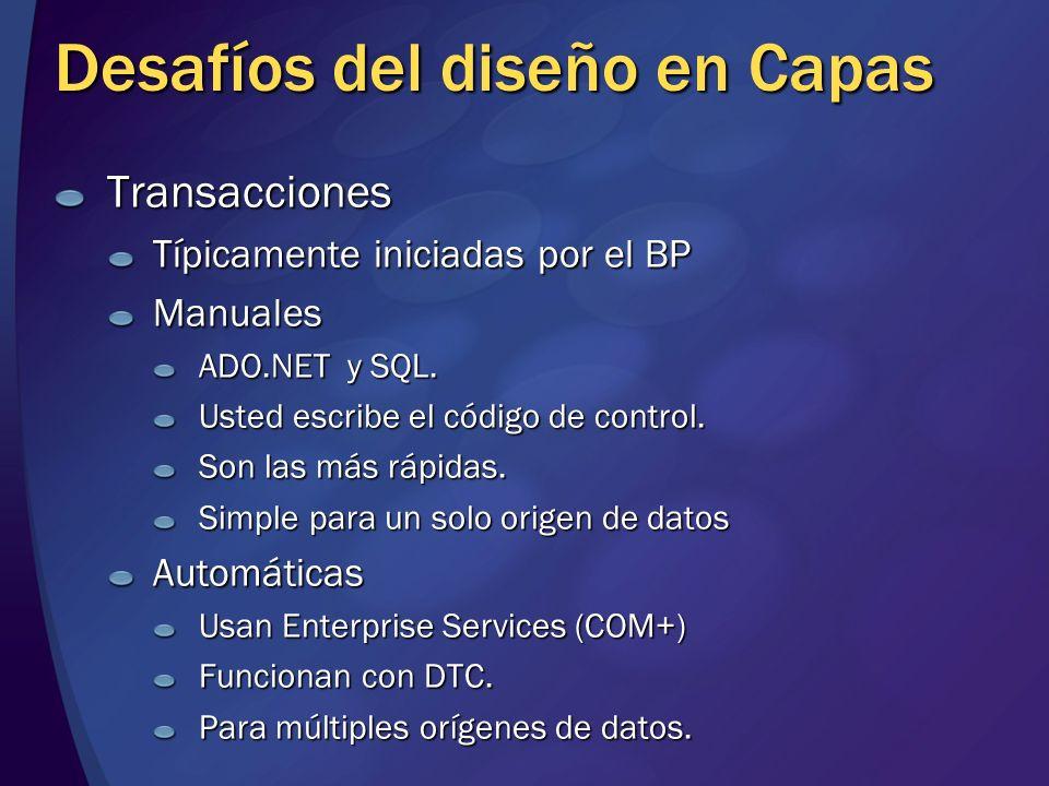 Desafíos del diseño en Capas Transacciones Típicamente iniciadas por el BP Manuales ADO.NET y SQL. Usted escribe el código de control. Son las más ráp