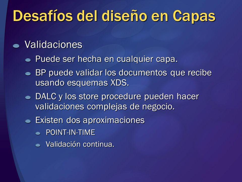 Desafíos del diseño en Capas Validaciones Puede ser hecha en cualquier capa. BP puede validar los documentos que recibe usando esquemas XDS. DALC y lo