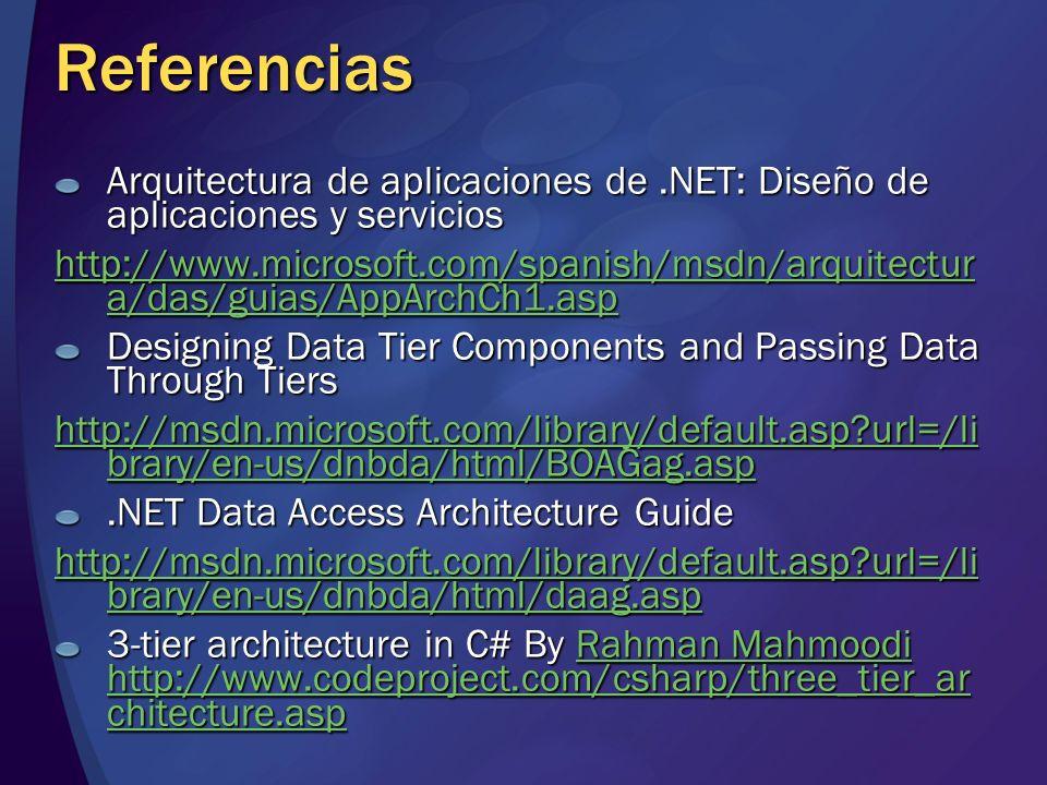 Referencias Arquitectura de aplicaciones de.NET: Diseño de aplicaciones y servicios http://www.microsoft.com/spanish/msdn/arquitectur a/das/guias/AppA