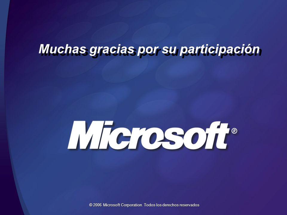 © 2006 Microsoft Corporation. Todos los derechos reservados Muchas gracias por su participación