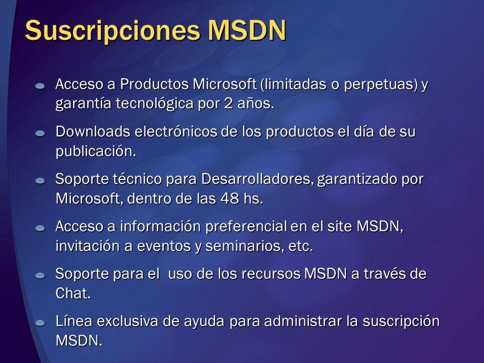 Suscripciones MSDN Acceso a Productos Microsoft (limitadas o perpetuas) y garantía tecnológica por 2 años. Downloads electrónicos de los productos el