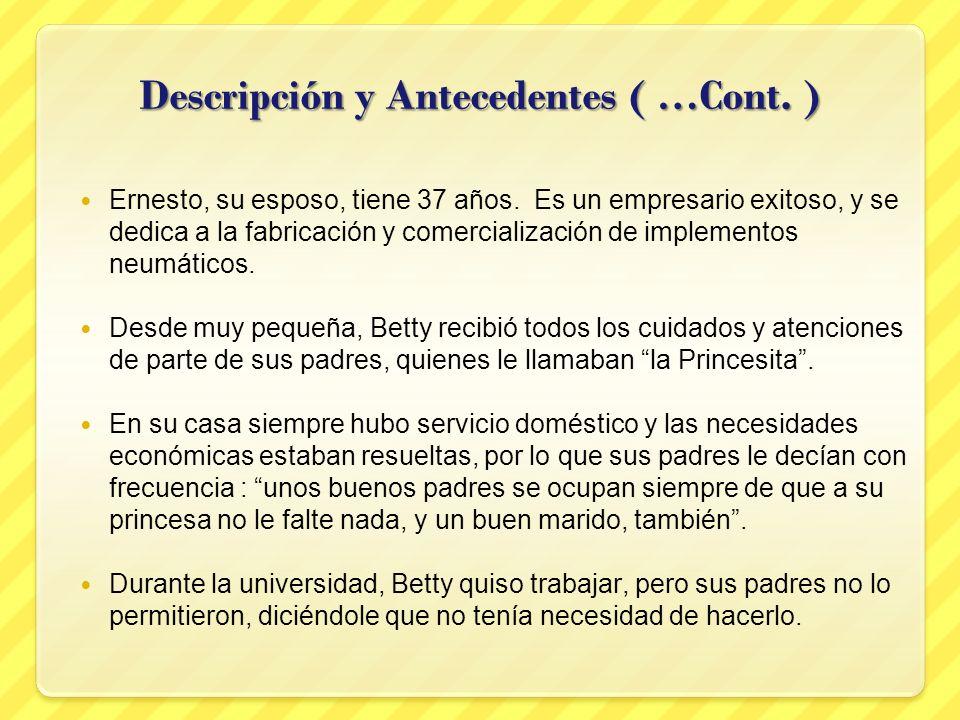 Descripción y Antecedentes ( …Cont. ) Ernesto, su esposo, tiene 37 años. Es un empresario exitoso, y se dedica a la fabricación y comercialización de
