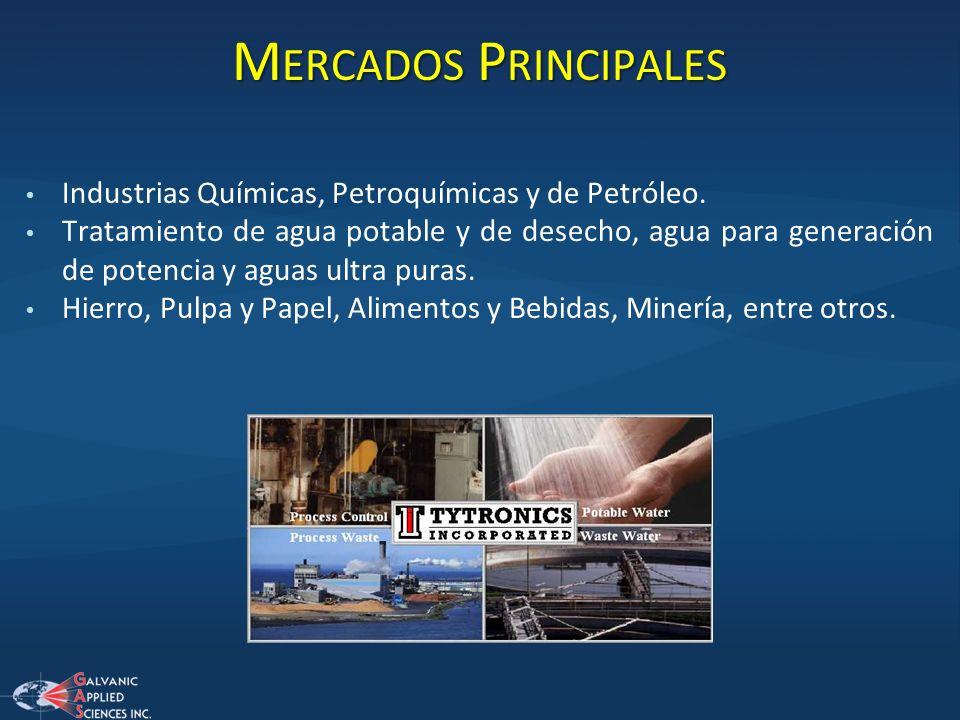 M ERCADOS P RINCIPALES Industrias Químicas, Petroquímicas y de Petróleo. Tratamiento de agua potable y de desecho, agua para generación de potencia y