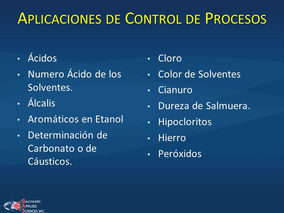A PLICACIONES DE C ONTROL DE P ROCESOS Ácidos Numero Ácido de los Solventes. Álcalis Aromáticos en Etanol Determinación de Carbonato o de Cáusticos. C