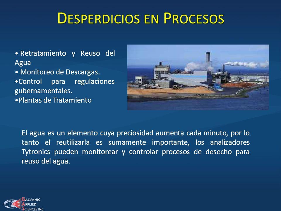 D ESPERDICIOS EN P ROCESOS Retratamiento y Reuso del Agua Monitoreo de Descargas. Control para regulaciones gubernamentales. Plantas de Tratamiento El
