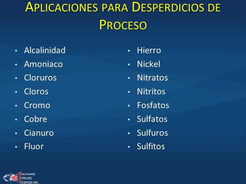 A PLICACIONES PARA D ESPERDICIOS DE P ROCESO Alcalinidad Amoniaco Cloruros Cloros Cromo Cobre Cianuro Fluor Hierro Nickel Nitratos Nitritos Fosfatos S