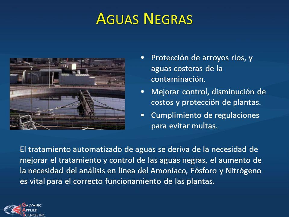 A GUAS N EGRAS Protección de arroyos ríos, y aguas costeras de la contaminación. Mejorar control, disminución de costos y protección de plantas. Cumpl