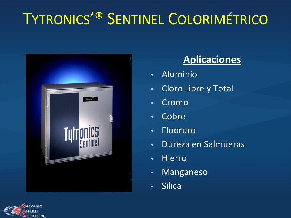 T YTRONICS ® S ENTINEL C OLORIMÉTRICO Aplicaciones Aluminio Cloro Libre y Total Cromo Cobre Fluoruro Dureza en Salmueras Hierro Manganeso Silica