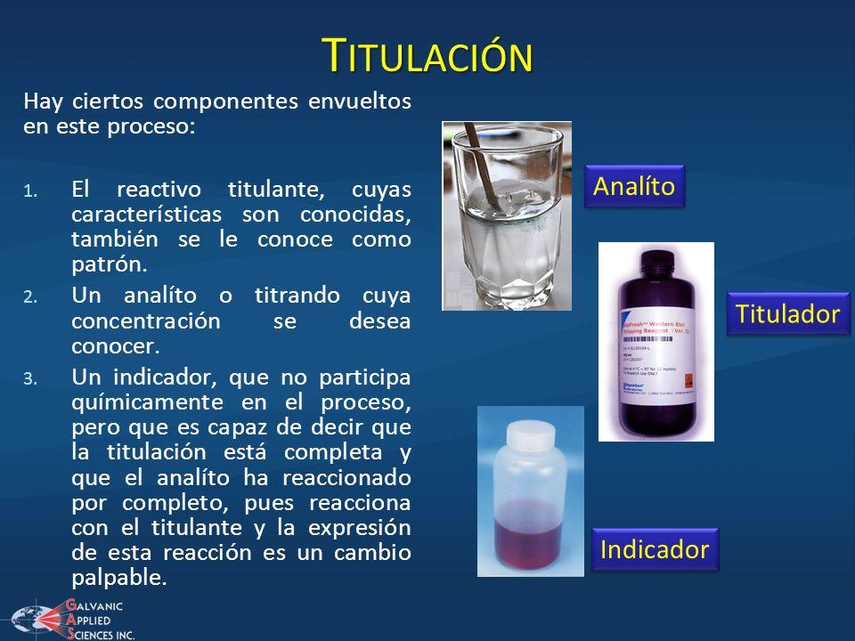T ITULACIÓN Hay ciertos componentes envueltos en este proceso: 1. El reactivo titulante, cuyas características son conocidas, también se le conoce com