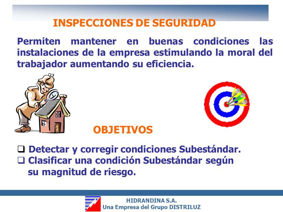 HIDRANDINA S.A. Una Empresa del Grupo DISTRILUZ HIDRANDINA S.A. Una Empresa del Grupo DISTRILUZ INSPECCIONES DE SEGURIDAD OBSERVACIONES DE SEGURIDAD I