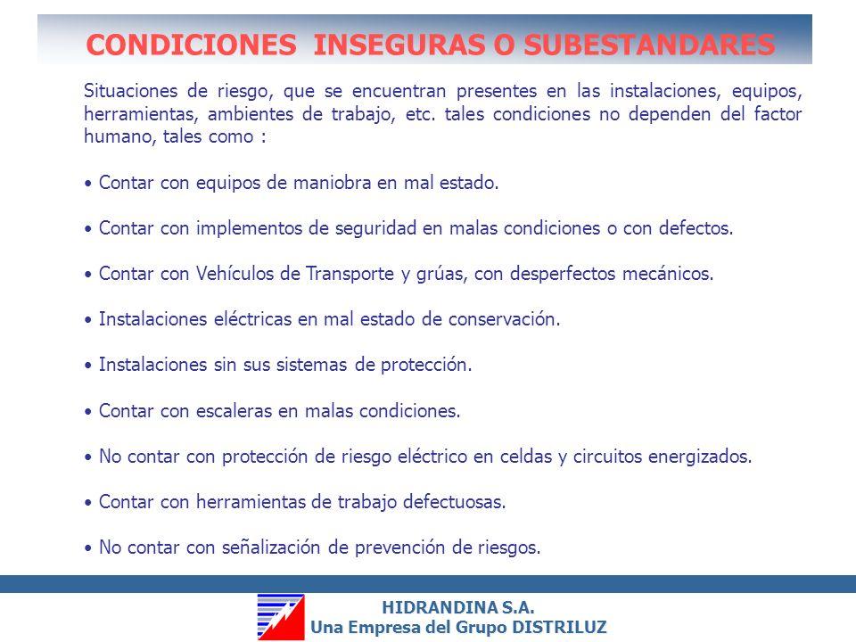 HIDRANDINA S.A. Una Empresa del Grupo DISTRILUZ HIDRANDINA S.A. Una Empresa del Grupo DISTRILUZ OBJETIVOS Detectar y corregir condiciones Subestándar.