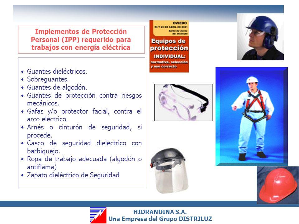 HIDRANDINA S.A. Una Empresa del Grupo DISTRILUZ HIDRANDINA S.A. Una Empresa del Grupo DISTRILUZ 5.Proteger frente a los elementos próximos en tensión