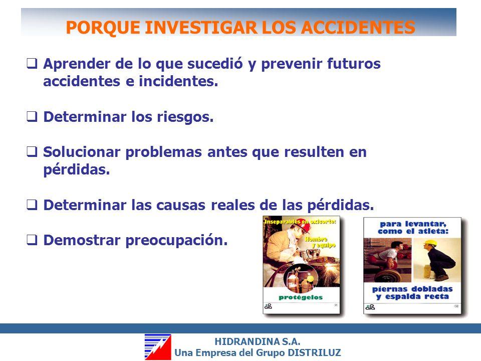 HIDRANDINA S.A. Una Empresa del Grupo DISTRILUZ HIDRANDINA S.A. Una Empresa del Grupo DISTRILUZ OBJETIVOS Encontrar las causas reales del accidente. P