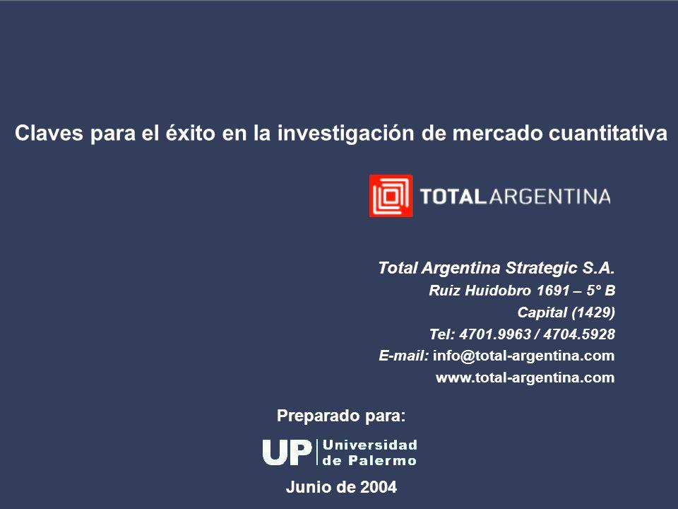 Claves para el éxito en la investigación de mercado cuantitativa Total Argentina Strategic S.A. Ruiz Huidobro 1691 – 5° B Capital (1429) Tel: 4701.996