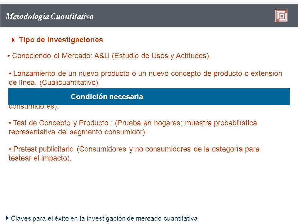 Claves para el éxito en la investigación de mercado cuantitativa Metodologia Cuantitativa Tipo de Investigaciones Conociendo el Mercado: A&U (Estudio
