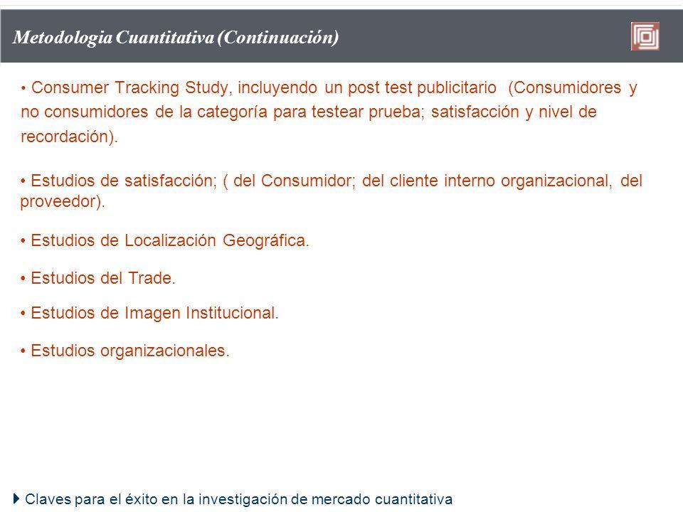 Claves para el éxito en la investigación de mercado cuantitativa Metodologia Cuantitativa (Continuación) Consumer Tracking Study, incluyendo un post t