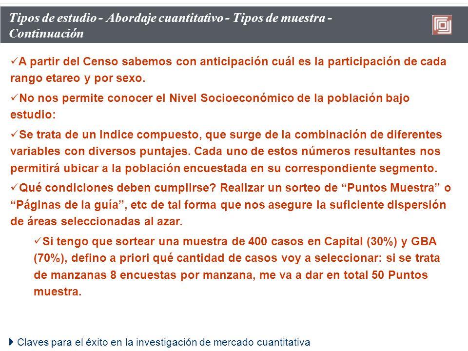 Claves para el éxito en la investigación de mercado cuantitativa Tipos de estudio - Abordaje cuantitativo - Tipos de muestra - Continuación A partir d