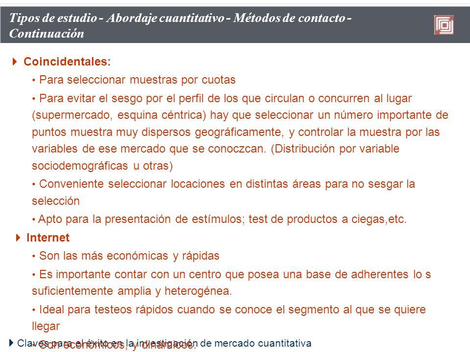 Claves para el éxito en la investigación de mercado cuantitativa Tipos de estudio - Abordaje cuantitativo - Métodos de contacto - Continuación Coincid