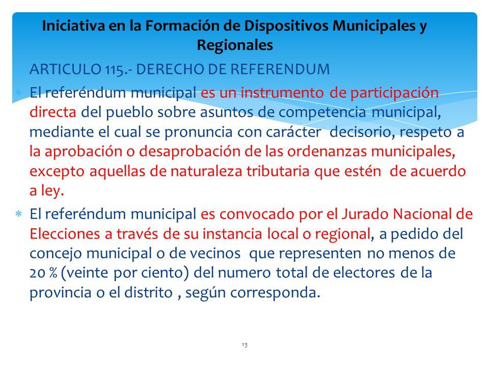 ARTICULO 115.- DERECHO DE REFERENDUM El referéndum municipal es un instrumento de participación directa del pueblo sobre asuntos de competencia munici