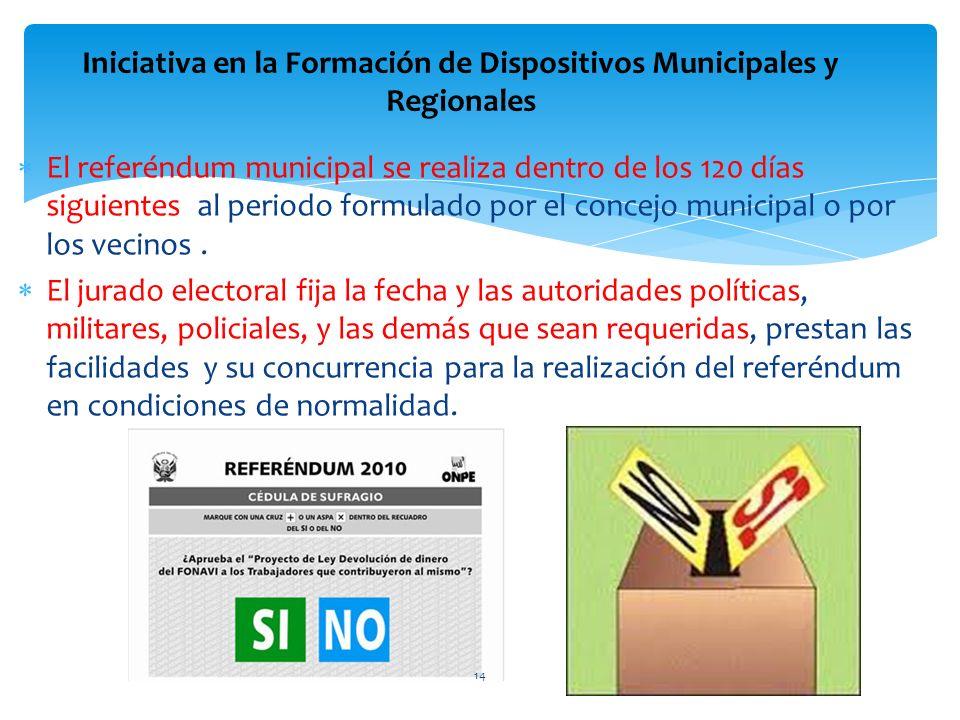 El referéndum municipal se realiza dentro de los 120 días siguientes al periodo formulado por el concejo municipal o por los vecinos. El jurado electo