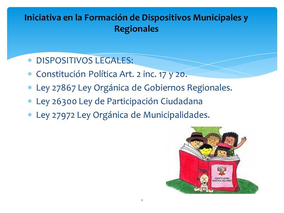 DISPOSITIVOS LEGALES: Constitución Política Art. 2 inc. 17 y 20. Ley 27867 Ley Orgánica de Gobiernos Regionales. Ley 26300 Ley de Participación Ciudad