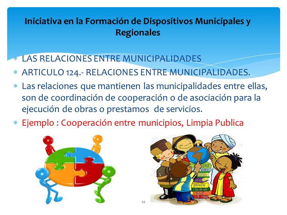 LAS RELACIONES ENTRE MUNICIPALIDADES ARTICULO 124.- RELACIONES ENTRE MUNICIPALIDADES. Las relaciones que mantienen las municipalidades entre ellas, so