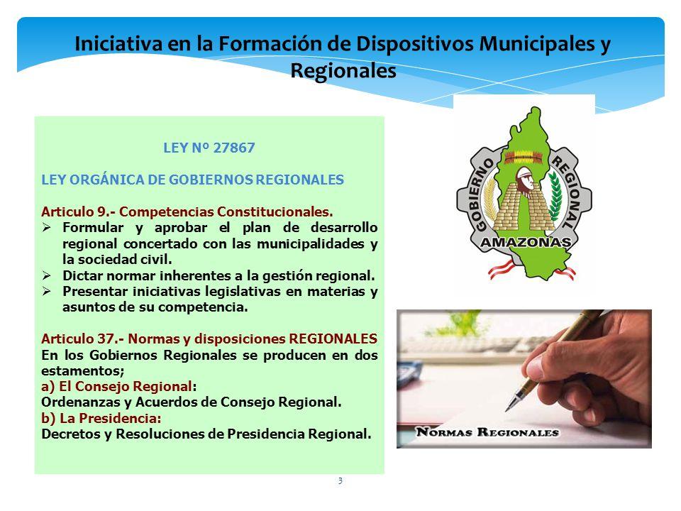 LEY Nº 27867 LEY ORGÁNICA DE GOBIERNOS REGIONALES Articulo 9.- Competencias Constitucionales. Formular y aprobar el plan de desarrollo regional concer