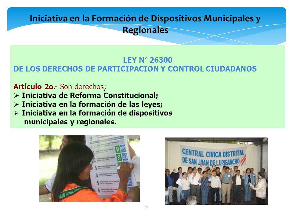 LEY N° 26300 DE LOS DERECHOS DE PARTICIPACION Y CONTROL CIUDADANOS Artículo 2o.- Son derechos; Iniciativa de Reforma Constitucional; Iniciativa en la