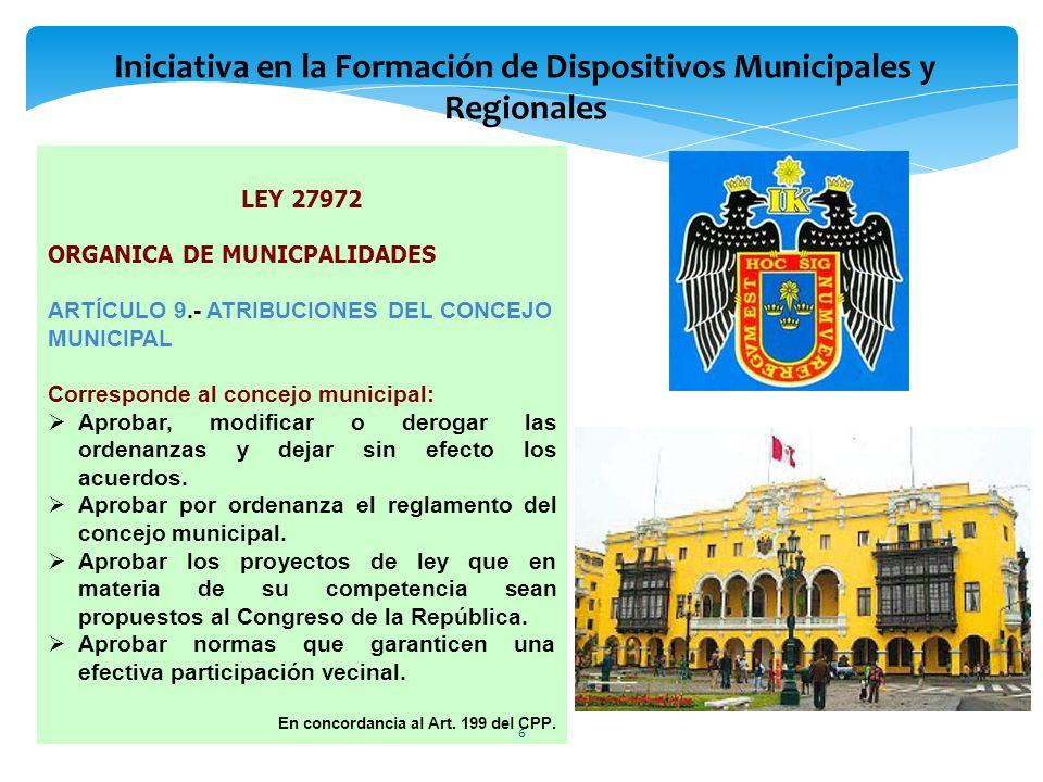 LEY 27972 ORGANICA DE MUNICPALIDADES ARTÍCULO 9.- ATRIBUCIONES DEL CONCEJO MUNICIPAL Corresponde al concejo municipal: Aprobar, modificar o derogar la
