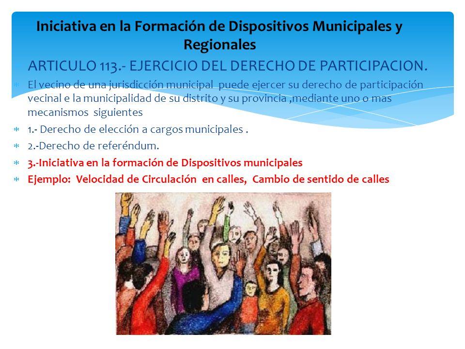 ARTICULO 113.- EJERCICIO DEL DERECHO DE PARTICIPACION. El vecino de una jurisdicción municipal puede ejercer su derecho de participación vecinal e la