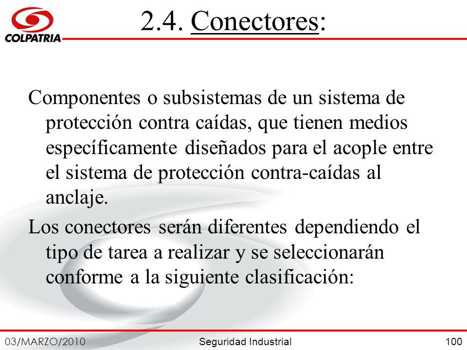 Seguridad Industrial 03/MARZO/2010 100 2.4. Conectores: Componentes o subsistemas de un sistema de protección contra caídas, que tienen medios específ