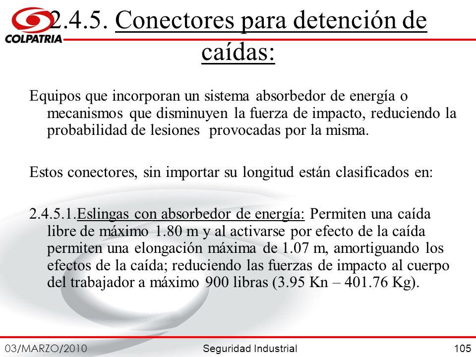 Seguridad Industrial 03/MARZO/2010 105 2.4.5. Conectores para detención de caídas: Equipos que incorporan un sistema absorbedor de energía o mecanismo