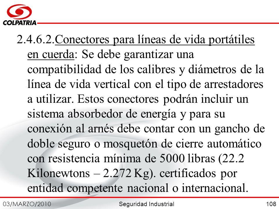 Seguridad Industrial 03/MARZO/2010 108 2.4.6.2.Conectores para líneas de vida portátiles en cuerda: Se debe garantizar una compatibilidad de los calib