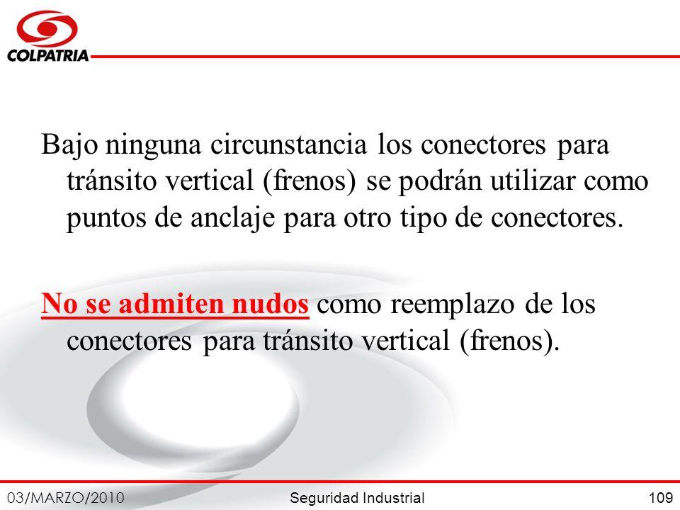 Seguridad Industrial 03/MARZO/2010 109 Bajo ninguna circunstancia los conectores para tránsito vertical (frenos) se podrán utilizar como puntos de anc