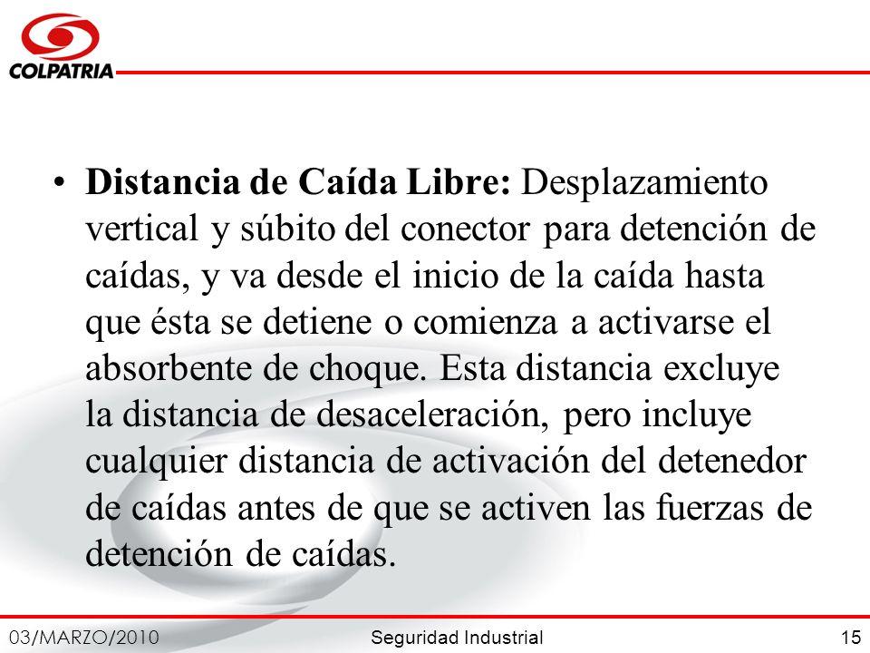 Seguridad Industrial 03/MARZO/2010 15 Distancia de Caída Libre: Desplazamiento vertical y súbito del conector para detención de caídas, y va desde el