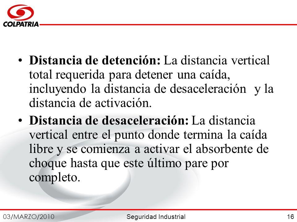 Seguridad Industrial 03/MARZO/2010 16 Distancia de detención: La distancia vertical total requerida para detener una caída, incluyendo la distancia de
