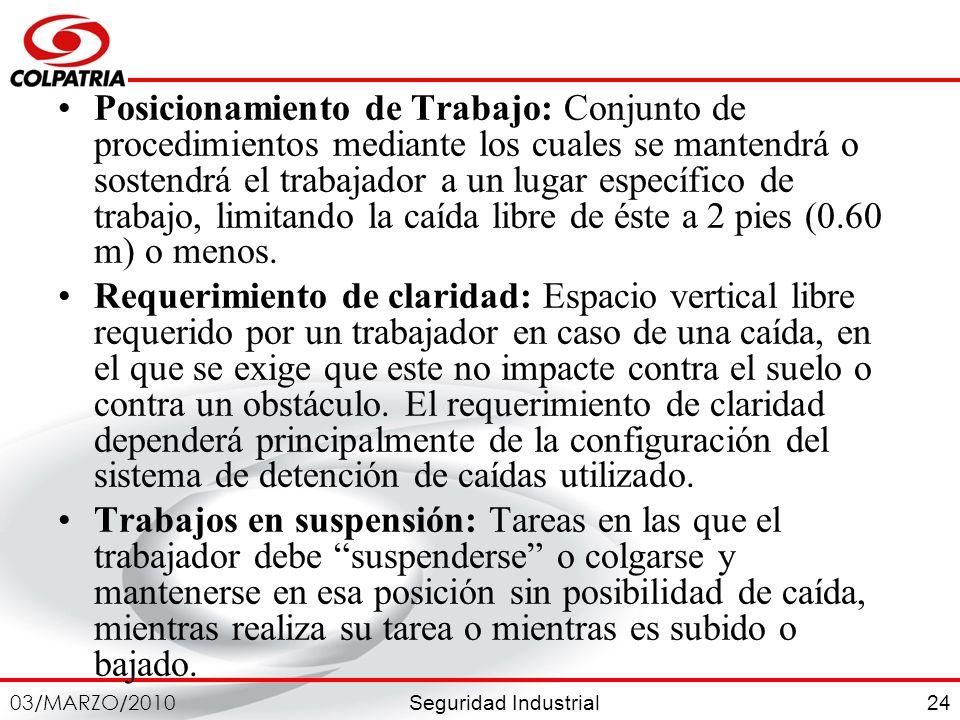 Seguridad Industrial 03/MARZO/2010 24 Posicionamiento de Trabajo: Conjunto de procedimientos mediante los cuales se mantendrá o sostendrá el trabajado