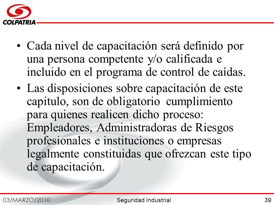 Seguridad Industrial 03/MARZO/2010 39 Cada nivel de capacitación será definido por una persona competente y/o calificada e incluido en el programa de
