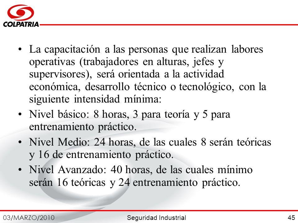 Seguridad Industrial 03/MARZO/2010 45 La capacitación a las personas que realizan labores operativas (trabajadores en alturas, jefes y supervisores),