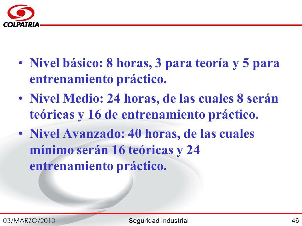 Seguridad Industrial 03/MARZO/2010 46 Nivel básico: 8 horas, 3 para teoría y 5 para entrenamiento práctico. Nivel Medio: 24 horas, de las cuales 8 ser