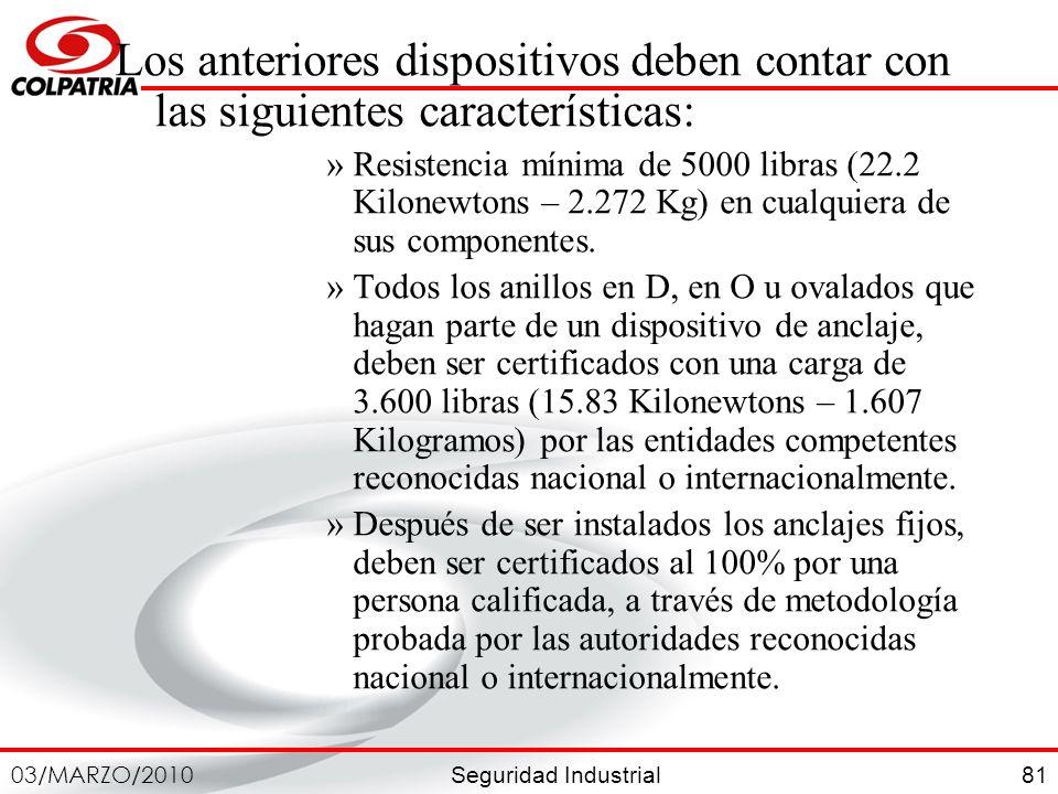 Seguridad Industrial 03/MARZO/2010 81 Los anteriores dispositivos deben contar con las siguientes características: »Resistencia mínima de 5000 libras
