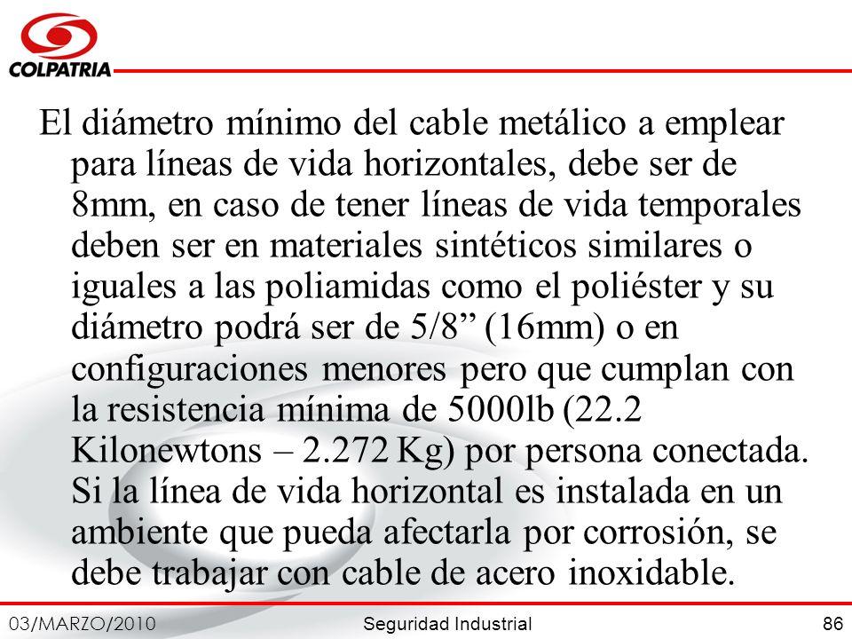 Seguridad Industrial 03/MARZO/2010 86 El diámetro mínimo del cable metálico a emplear para líneas de vida horizontales, debe ser de 8mm, en caso de te