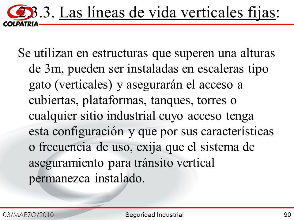 Seguridad Industrial 03/MARZO/2010 90 2.3.3. Las líneas de vida verticales fijas: Se utilizan en estructuras que superen una alturas de 3m, pueden ser
